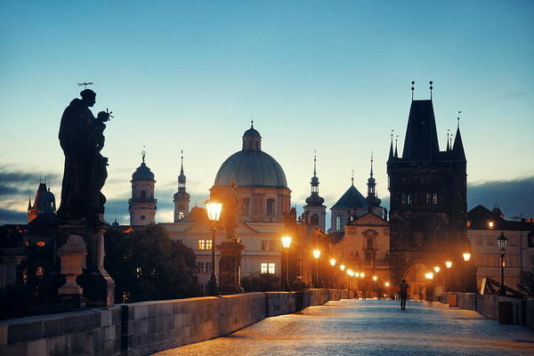 Photograph - Charles Bridge At Night by Songquan Deng