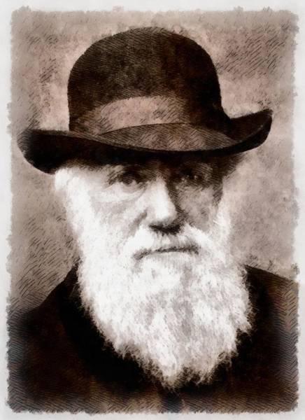 Evolution Painting - Charles Darwin by John Springfield