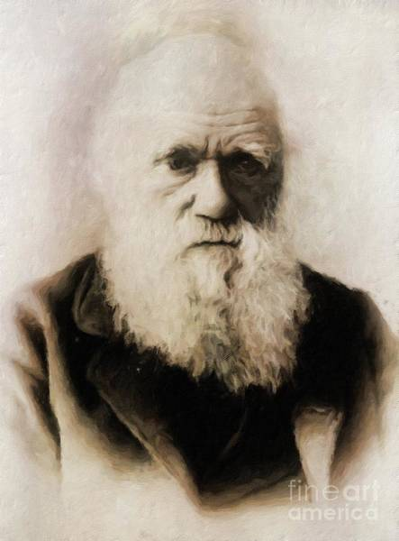 Poetry Painting - Charles Darwin, Scientist By Mary Bassett by Mary Bassett