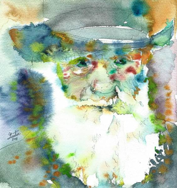 Darwinian Painting - Charles Darwin - Watercolor Portrait.7 by Fabrizio Cassetta