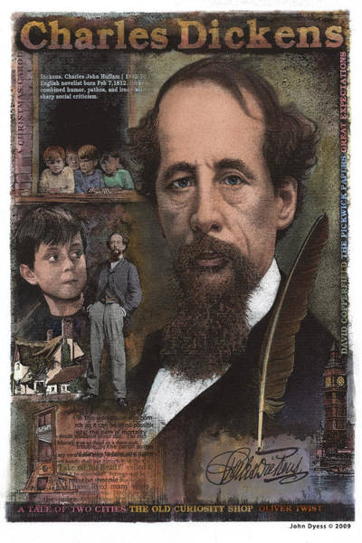 Mixed Media - Charles Dickens by John Dyess