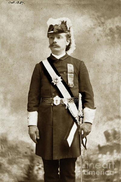 Photograph - Charles Kirkham Tuttle In His  Masonic Order Uniform  October 1887 by California Views Archives Mr Pat Hathaway Archives
