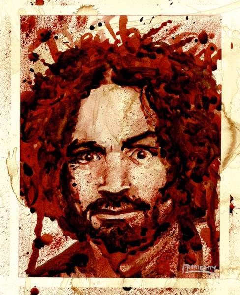 Painting - Charles Manson Portrait Dry Blood by Ryan Almighty