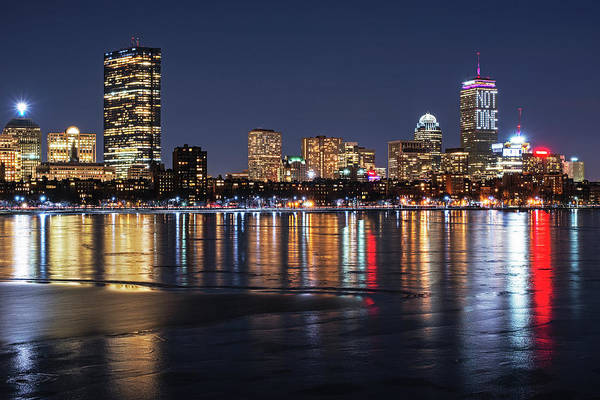 Photograph - Charles River Boston Ma Prudential Lit Up Not Done New England Patriots by Toby McGuire