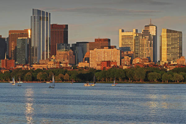Photograph - Charles River Sailboats With Boston Millennium Tower by Juergen Roth