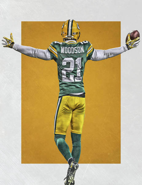 Green Bay Packers Wall Art - Painting - Charles Woodson Green Bay Packers Art 2 by Joe Hamilton