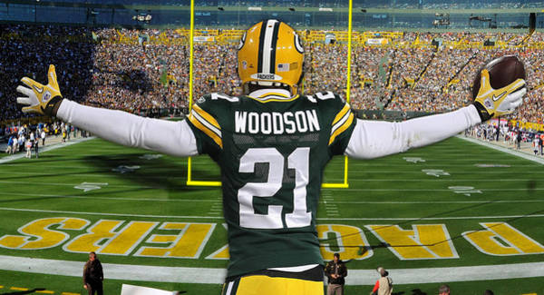 Green Bay Packers Wall Art - Mixed Media - Charles Woodson Green Bay Packers Stadium Art 1 by Joe Hamilton