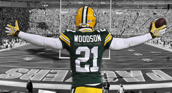 Green Bay Packers Wall Art - Mixed Media - Charles Woodson Green Bay Packers Stadium Art 2 by Joe Hamilton