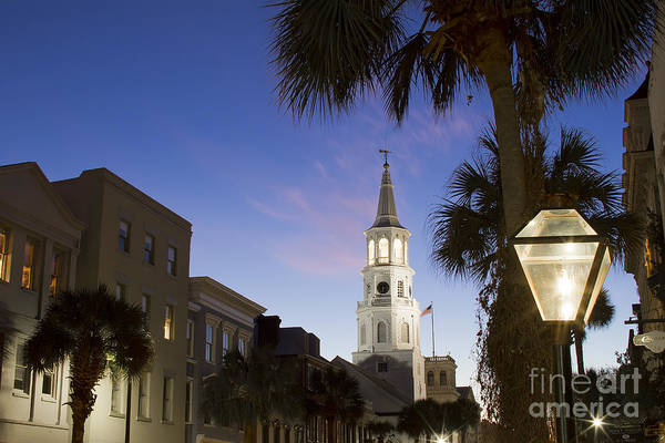 St Michaels Church Photograph - Charleston At Night St Michaels Church Steeple by Dustin K Ryan