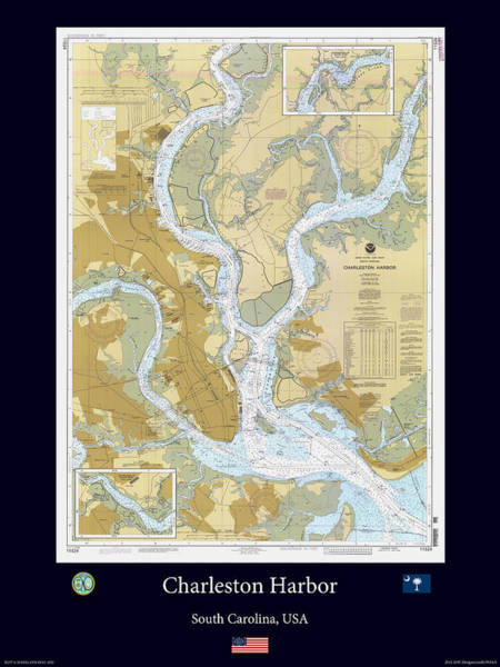 Noaa Chart Wall Art - Photograph - Charleston Harbor by Adelaide Images