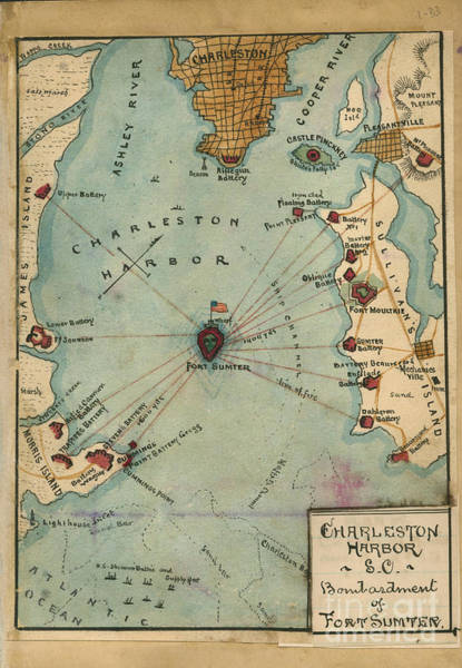 Photograph - Charleston Harbor Vintage Map by Dale Powell