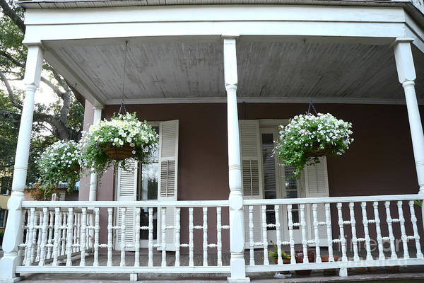 Wall Art - Photograph - Charleston Historical Homes - Front Porches Hanging Summer Baskets Of Flowers by Kathy Fornal