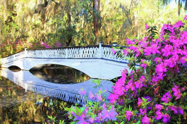 Photograph - Charleston Magnolia Plantation White Lattice Bridge And Azaleas Painting by Carol Montoya