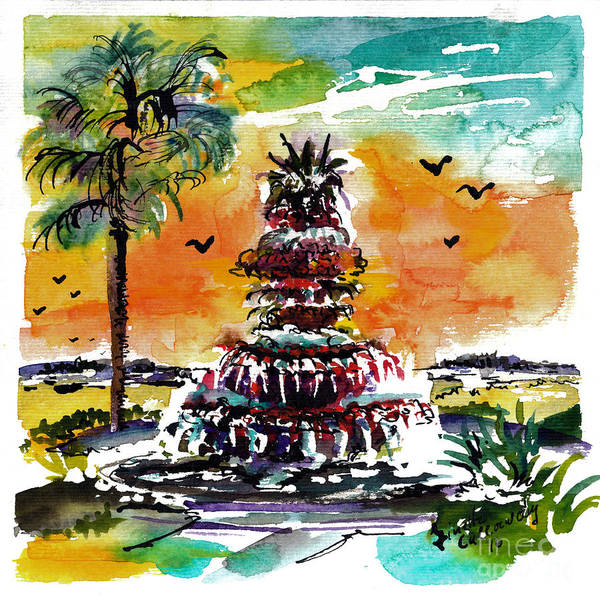 Painting - Charleston Pineapple Fountain  by Ginette Callaway
