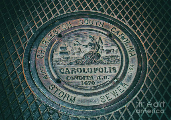 Storm Drain Photograph - Charleston Storm Sewer Man Hole Cover by Dale Powell
