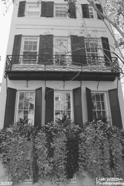 Photograph - Charleston Style Home Black And White by Lisa Wooten