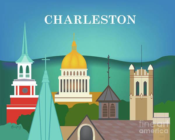 Charleston Digital Art - Charleston West Virginia Horizontal Scene by Karen Young