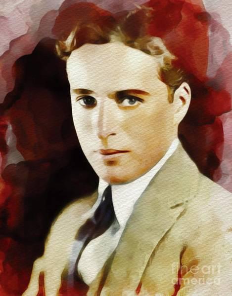 Wall Art - Painting - Charlie Chaplin, Vintage Movie Legend by John Springfield