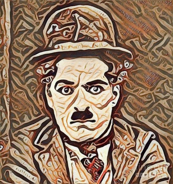 Wall Art - Painting - Charlie Chaplin, Vintage Movie Legend by Mary Bassett