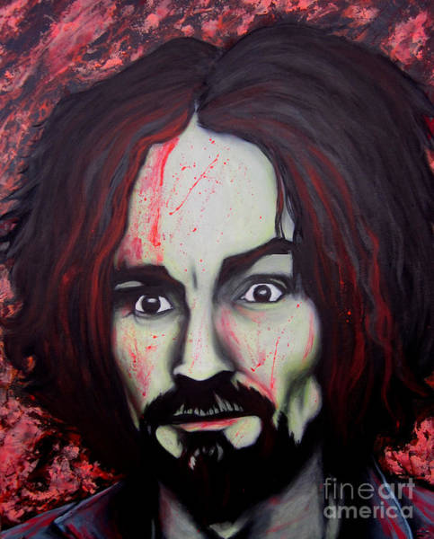 Serial Killer Painting - Charlie Manson by Justin Coffman