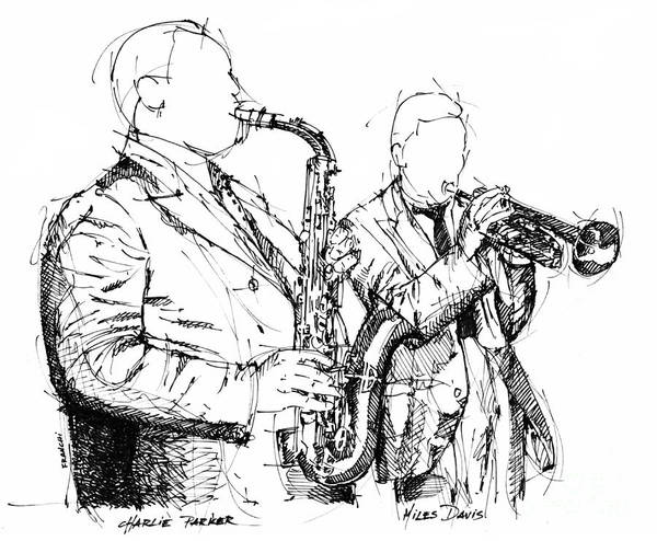 Wall Art - Drawing - Charlie Parker Miles Davis Handmade Ink Drawing by Drawspots Illustrations