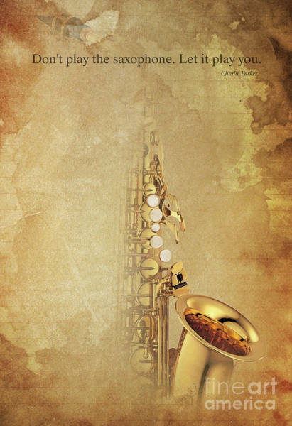 Wall Art - Painting - Charlie Parker Saxophone Brown Vintage Poster And Quote, Gift For Musicians by Drawspots Illustrations