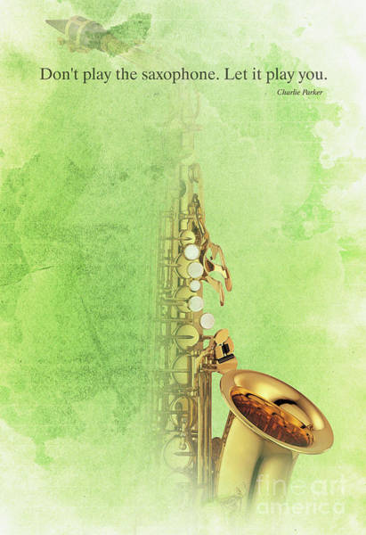 Wall Art - Painting - Charlie Parker Saxophone Green Vintage Poster And Quote, Gift For Musicians by Drawspots Illustrations