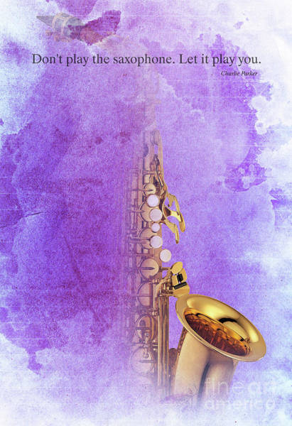 Christmas Gift Digital Art - Charlie Parker Saxophone Purple Vintage Poster And Quote, Gift For Musicians by Drawspots Illustrations