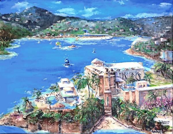Us Virgin Islands Painting - Charlotte Amalie Marriott Frenchmans Beach Resort St. Thomas Us Virgin Island Aerial by Bernadette Krupa