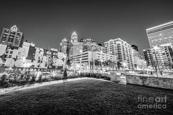 Charlotte Nc Wall Art - Photograph - Charlotte City Black And White Photo by Paul Velgos