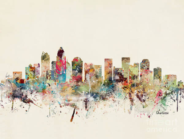 Charlotte Wall Art - Painting - Charlotte City Skyline by Bri Buckley