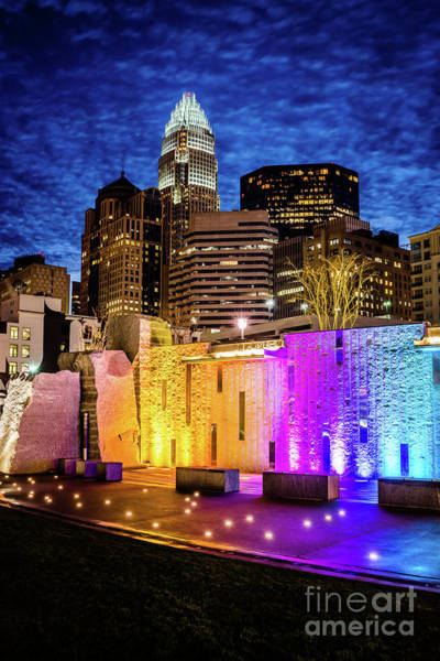 Wall Art - Photograph - Charlotte Cityscape And Bearden Park Waterfall Wall At Night by Paul Velgos