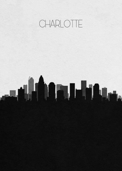 Charlotte Digital Art - Charlotte Cityscape Art by Inspirowl Design