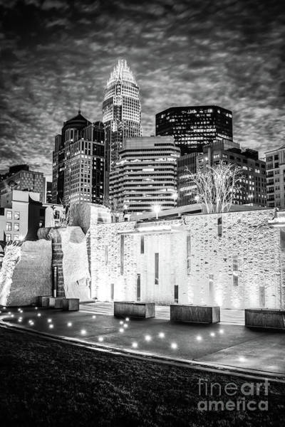 Wall Art - Photograph - Charlotte Cityscape At Night Black And White Photo by Paul Velgos