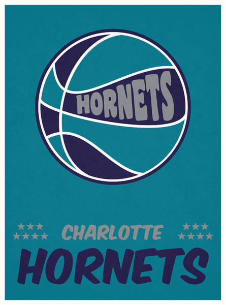 Wall Art - Mixed Media - Charlotte Hornets Vintage Basketball Art by Joe Hamilton