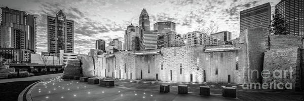 Wall Art - Photograph - Charlotte Nc Black And White Panoramic Picture by Paul Velgos
