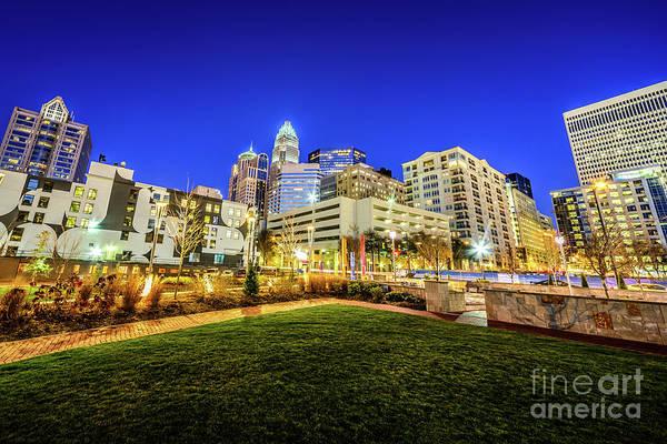 Charlotte Nc Wall Art - Photograph - Charlotte North Carolina At Night by Paul Velgos