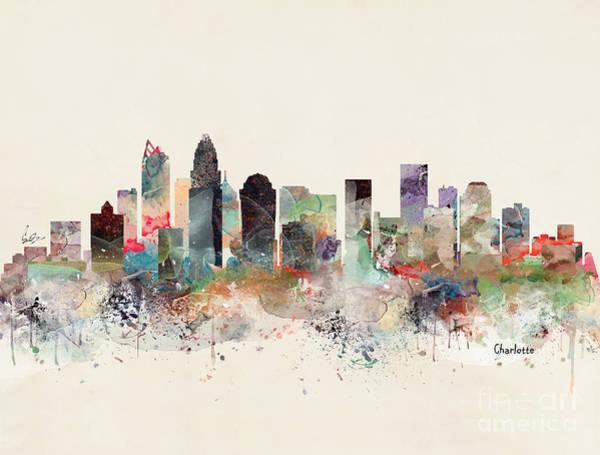 North Carolina Painting - Charlotte North Carolina Skyline by Bri Buckley