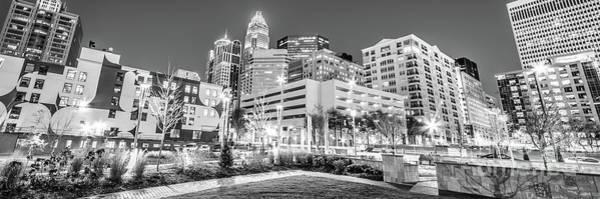Charlotte Nc Wall Art - Photograph - Charlotte Panorama Black And White Image by Paul Velgos