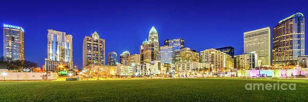 Wall Art - Photograph - Charlotte Skyline At Night Panorama Photo by Paul Velgos