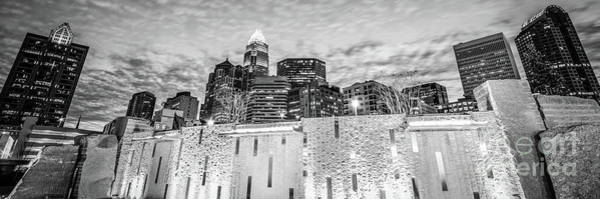 Wall Art - Photograph - Charlotte Skyline Bearden Park Black And White Panorama by Paul Velgos