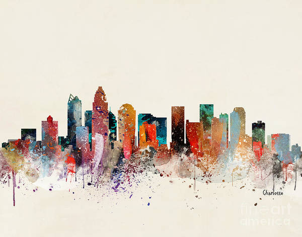 Charlotte Wall Art - Painting - Charlotte Skyline by Bri Buckley