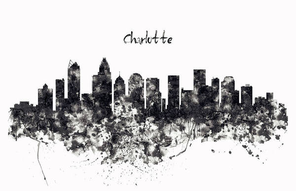 Wall Art - Painting - Charlotte Watercolor Skyline Black And White by Marian Voicu