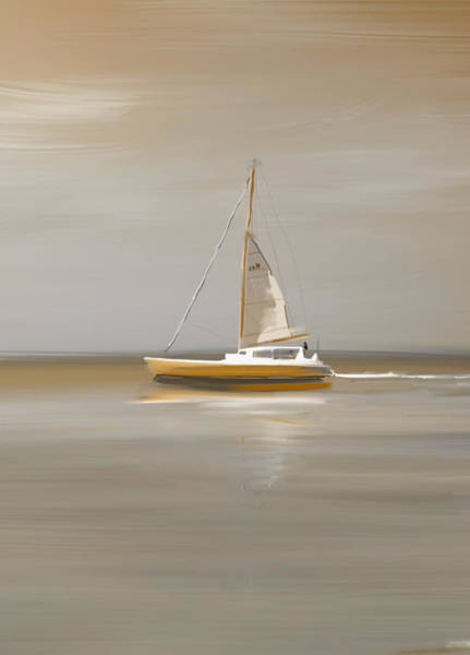 Speed Boat Digital Art - Charming And Tranquil Sailboat Painting - Why Not Blue by Jean-Pierre Prieur