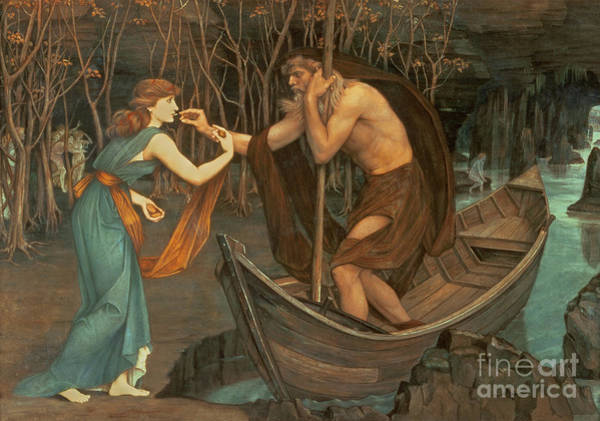 Punt Painting - Charon And Psyche by John Roddam Spencer Stanhope