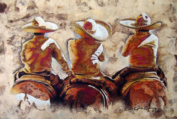 Cowboys Wall Art - Painting - 3 . C H A R R O  . F R I E N D S by J  - O   N    E
