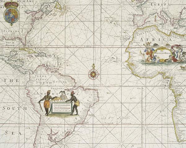 Atlantic Drawing - Chart Of The Atlantic Ocean by English School