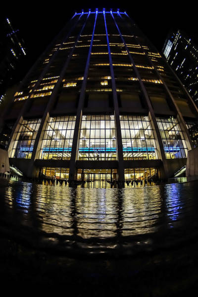 Photograph - Chase Building With Fountain At Night by Sven Brogren