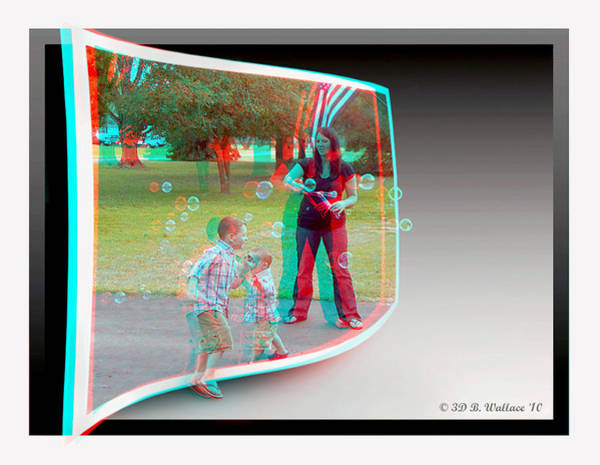 Anaglyph Photograph - Chasing Bubbles - Use Red-cyan 3d Glasses by Brian Wallace