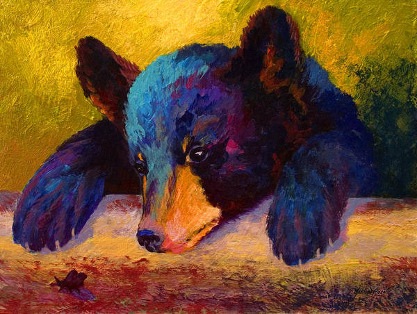 Bear Painting - Chasing Bugs - Black Bear Cub by Marion Rose